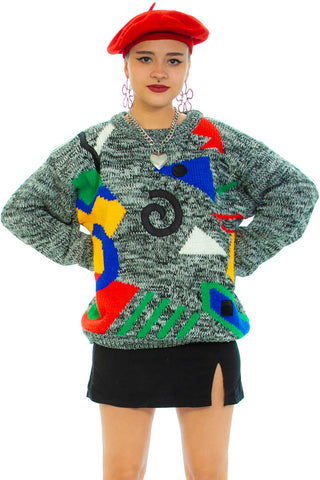 Vintage 80's Geometric Primary Knit Sweater - One Size Fits Many