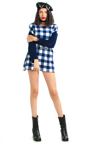 Vintage 90's Mod Check Navy Fleece Mini - XS/S