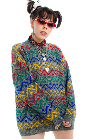 Vintage 80's Zig-Zag Crayon Sweater - One Size Fits Many