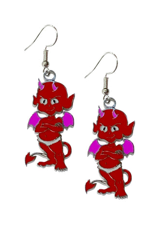 Devil D00d Enamel & Stainless Steel Earrings