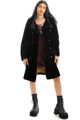 Vintage 70's Midnight Disco Faux Fut Coat - XS/S/M
