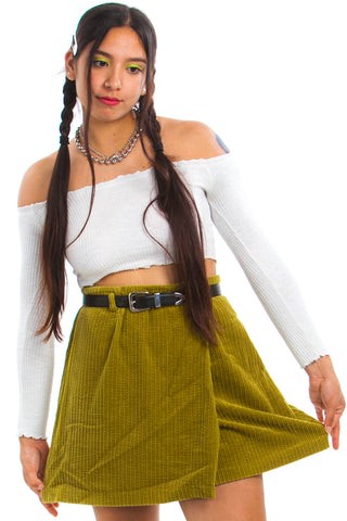 Vintage Y2K Split Corduroy Mini Skirt - L