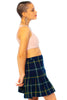 Vintage 80's Navy Blue Plaid Pleated Skirt - XS