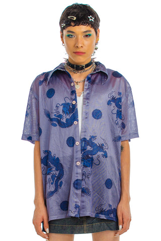 Vintage Y2K Unleash the Dragon Button-Front Shirt - One Size Fits Many
