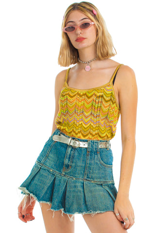 Vintage Y2K Get In Loser! Denim Pleated Mini Skirt - M/L