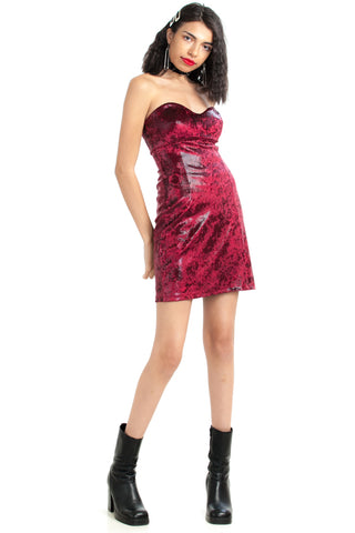 Vintage Y2K Vixen! Velvet Snake Mini Dress - XS/S