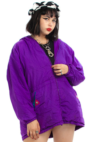 Vintage 80's Purple Geo Hooded Breaker - One Size Fits Many
