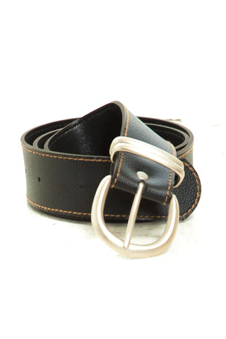 Vintage 90's Vegan Leather Metal Trim Belt - M/L