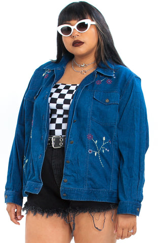 Vintage 90's Save the Flowers Stretch Denim Jacket - XL/2X/3X