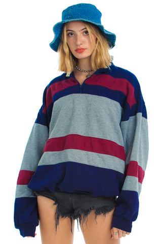 Vintage 90's Claybrooke Striped Zip-Neck Sweatshirt - One Size Fits Many