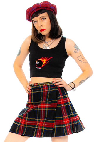 Vintage 90's Made-in-Scotland Pleated Mini Skirt - L