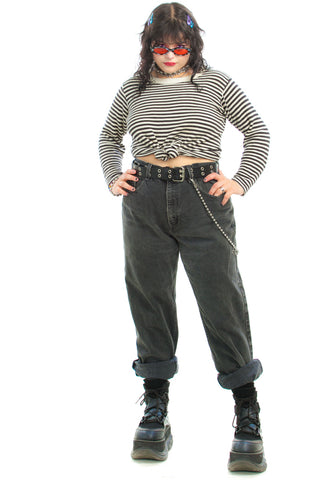Vintage 90's Black Denim Dungarees - L