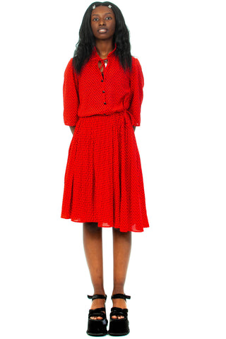 Vintage 80's Red & Black Ruffle Collar Dress - M/L