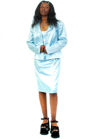 Vintage 80's Baby Blue Dress & Jacket Set - S/M