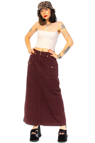 Vintage Y2K Chocolate Cargo Maxi Skirt - L