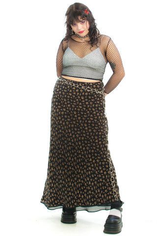 Vintage 90's Time of the Season Silk Floral Maxi Skirt - L
