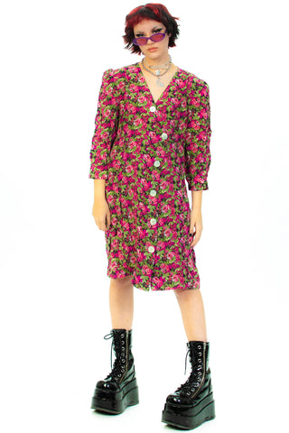 Vintage 80's Floral Longsleeve Button Dress - L