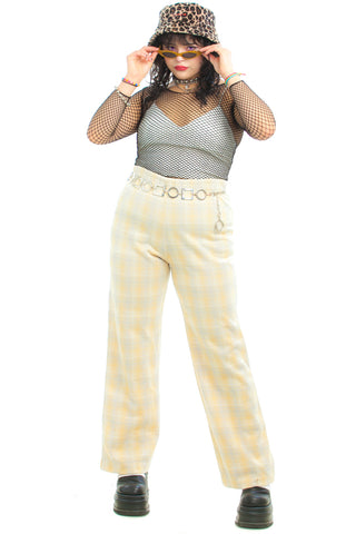 Vintage 70's Lemon Drop Plaid Pants - L