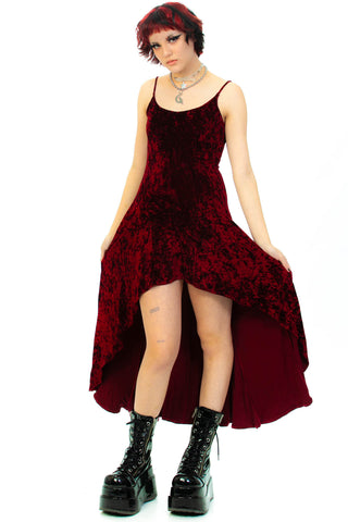 Vintage 90's Burgundy Crushed Velvet Dress - S/M