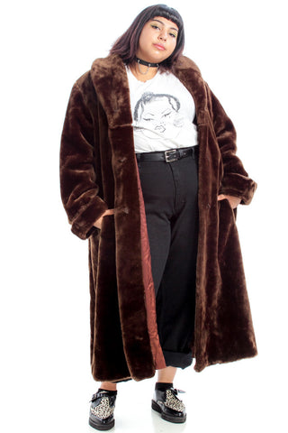 Vintage 70's Classic Brown Faux Fur Maxi Coat - One Size Fits Many