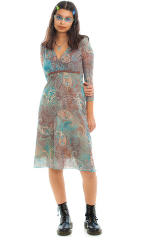 Vintage 90's Dusty Paisley Mesh Dress - M/L