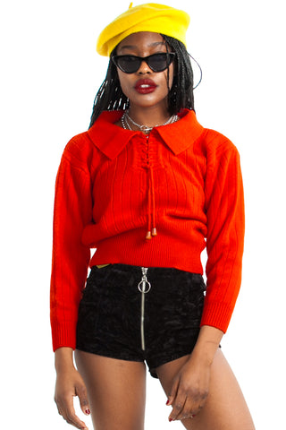 Vintage 70's Red & Retro Cropped Sweater - One Size Fits Many