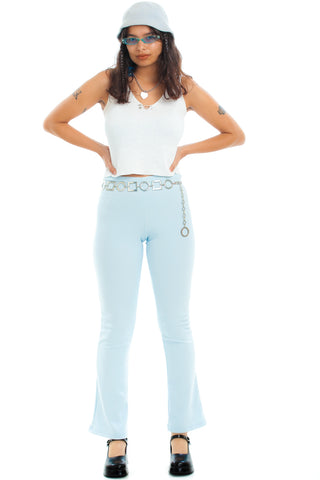 Vintage 90's Baby Blue Stretch Kick Flares - S/M