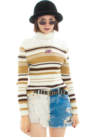 Vintage 90's Cookie Striped Turtleneck - One Size Fits Many