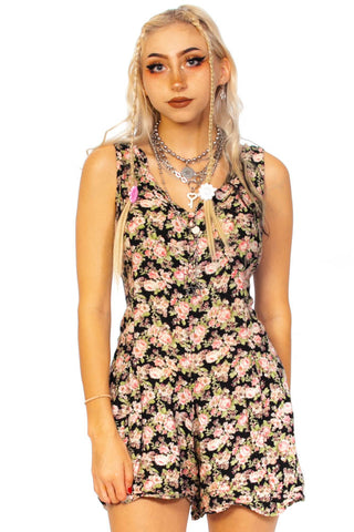 Vintage Y2K Libby Black Floral Romper - One Size Fits Many