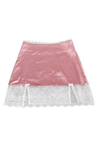 Kiki Pink Lace-Trim Mini Skirt