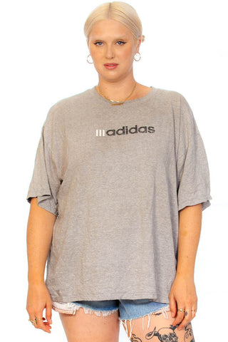 Vintage 90's Adidas Heather Grey Logo Tee - One Size Fits Many