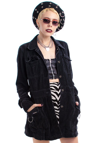 Vintage Y2K It's Not a Phase, Mom! Goth Corduroy Jacket - XS/S