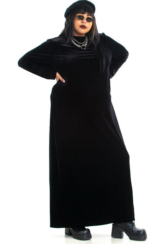 Vintage 90's Gothic Fancy Velvet Maxi Dress - 3X/4X