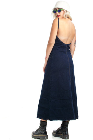 Vintage Y2K Stretch Denim Maxi Dress - M/L