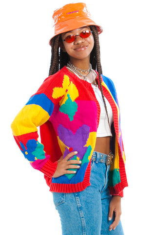 Vintage 90's Rainbow Daisy Sweater - One Size Fits Many