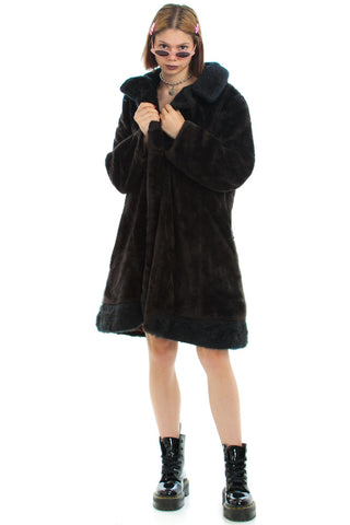Vintage 70's Two-Tone Faux Fur Coat - One Size Fits Many