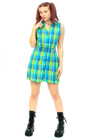 Vintage 90's Plaid Collared Button Up Dress - M