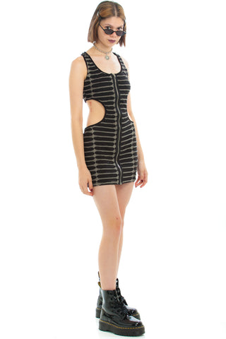 Vintage Y2K Matrix Texture Mini Dress - S/M