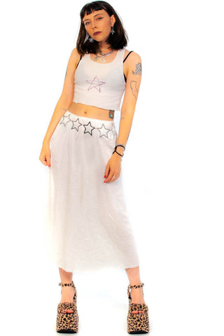 Vintage 90's Ivory Lace-Trim Midi Slip Skirt - One Size Fits Many