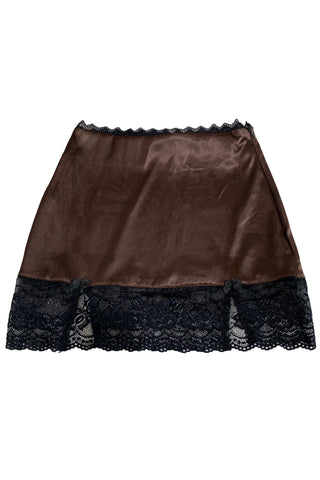 Kiki Brown Lace-Trim Mini Skirt
