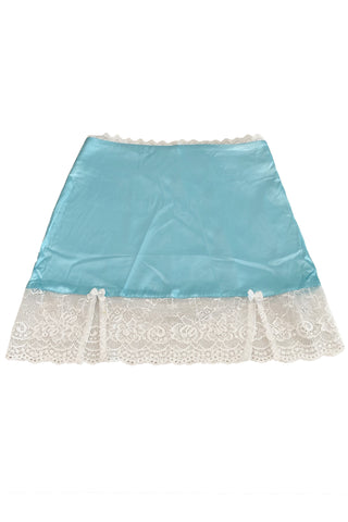 Kiki Blue Lace-Trim Mini Skirt
