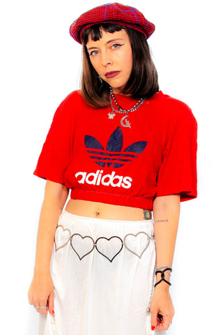 Vintages Y2K Red Adidas Cropped Tee - One Size Fits Many