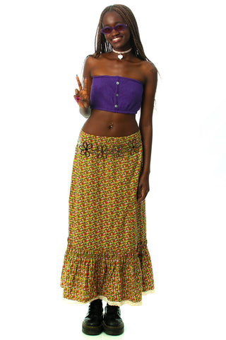 Vintage 60's Ditsy Floral Maxi Skirt - S/M