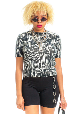 Vintage 90's Zebra Silk Knit Top - One Size Fits Many
