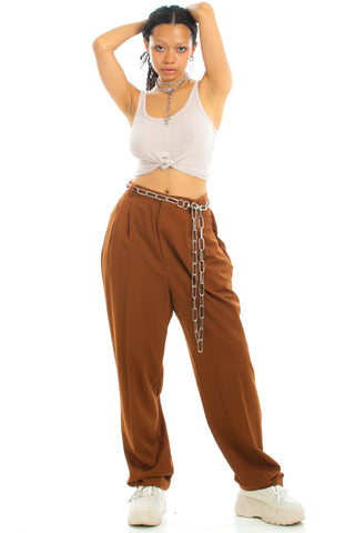 Vintage 80's Espresso Pleated Trousers - S/M