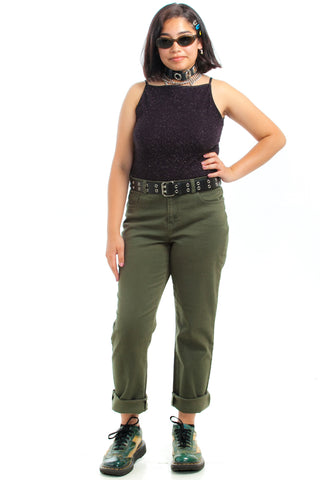 Vintage 90's Stretch Army High-Waisted Jeans - XL