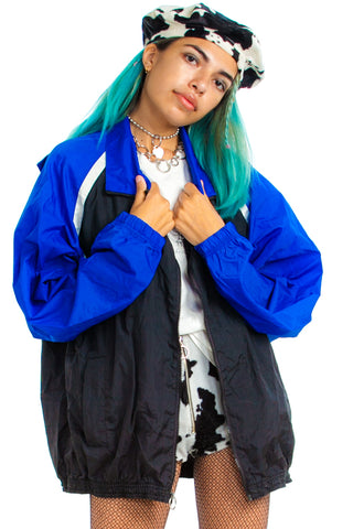 Vintage 90's Black & Blue Windbreaker - One Size Fits Many