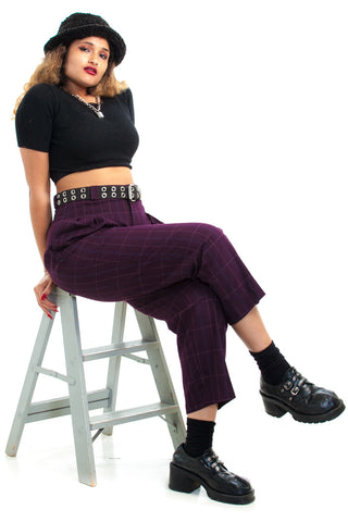 Vintage 80's Plum Check Trousers - L