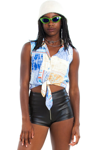 Vintage 90's A Day At Sea Cropped Tie Up Tank Top XS/S/M