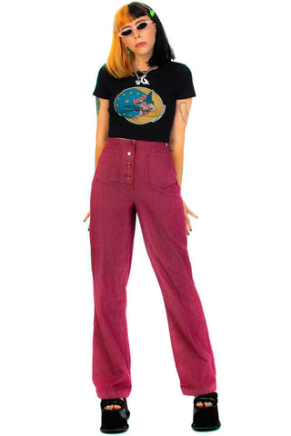Vintage 70's Grape Twill Flares - S/M